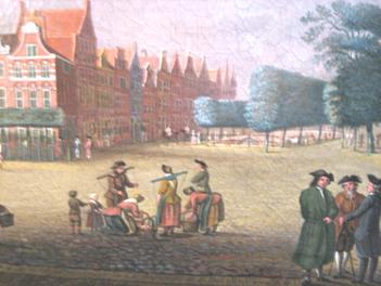 prent van bedrijvigheid op de Melkmarkt zuidzijde te Zwolle uit 1772