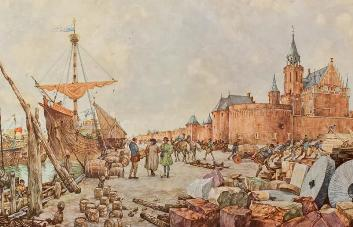 Oude prent van de handel op de kade van Kampen