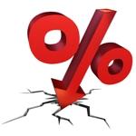 rood percentageteken met pijl omlaag