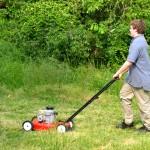 jongen die werkt door gras te maaien
