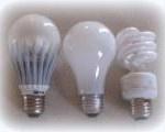 3 lampen: led-, spaar- en traditionele gloeilamp